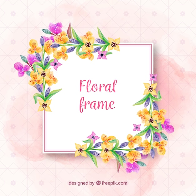 Floral frame with cheerful flowers