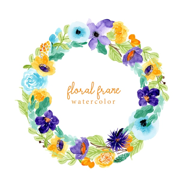 Floral frame with colorful floral watercolor