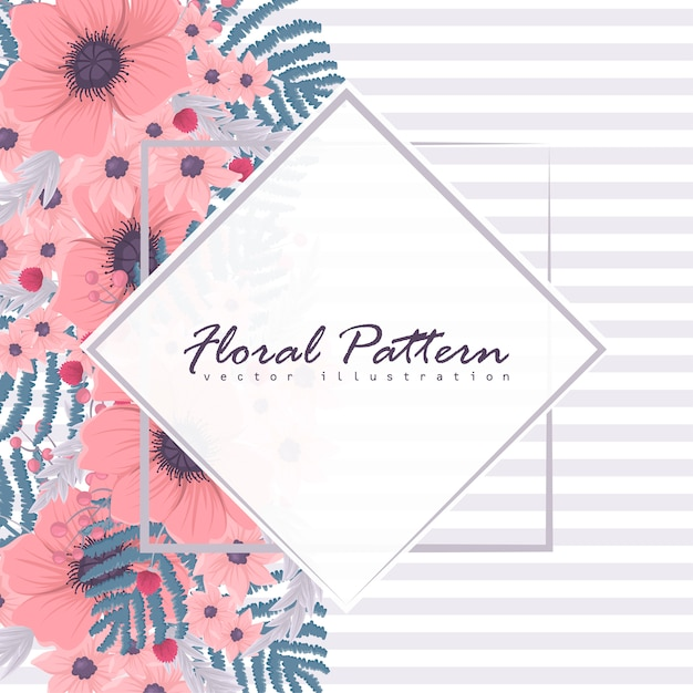 Floral frame with colorful flower. Premium Vector