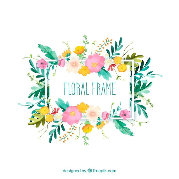 floral frame with different type of flowers vector free download