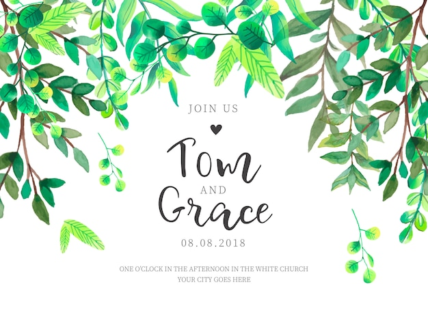 Floral frame with green leaves for wedding invitation Free Vector