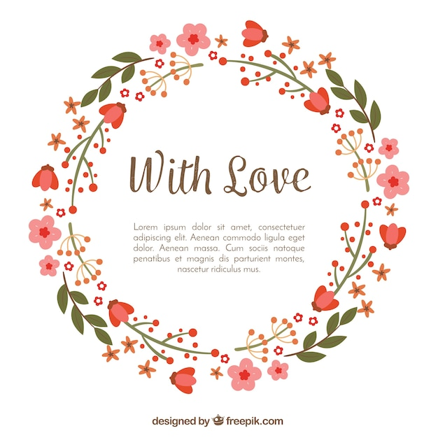 Floral frame with love Vector | Free Download