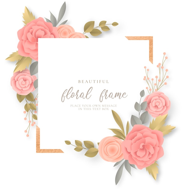 Floral frame with lovely flowers Free Vector
