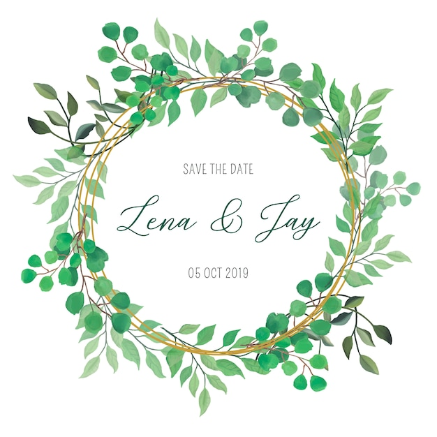 Floral frame with lovely watercolor leaves Free Vector