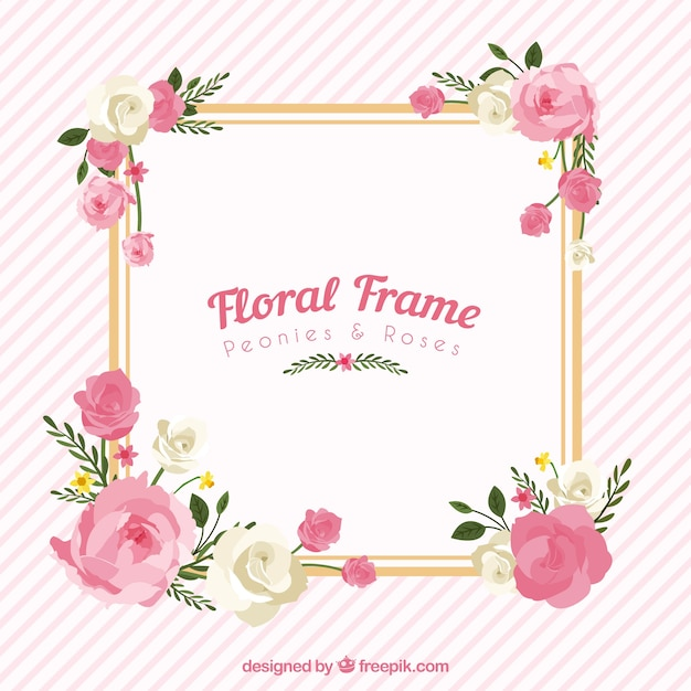 Floral frame with peonies and roses Free Vector