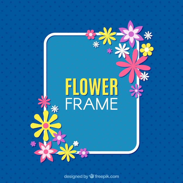 Floral frame with pink and yellow flowers