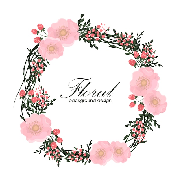 Floral frame with pink flower. Free Vector