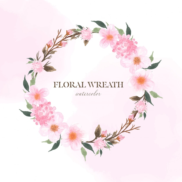 Floral frame with pink flowers and sakura cherry blossom Premium Vector