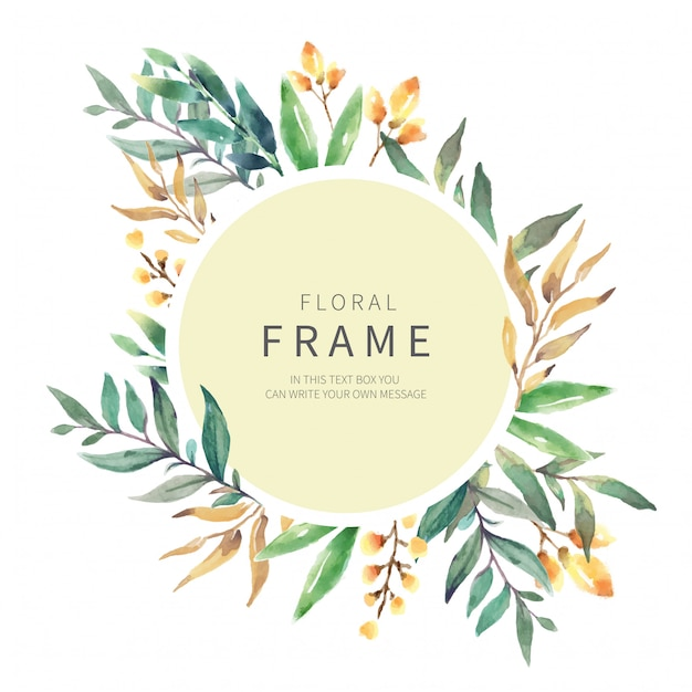 Floral frame with wild herbs Free Vector