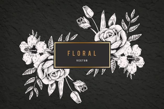 Floral framed background Free Vector