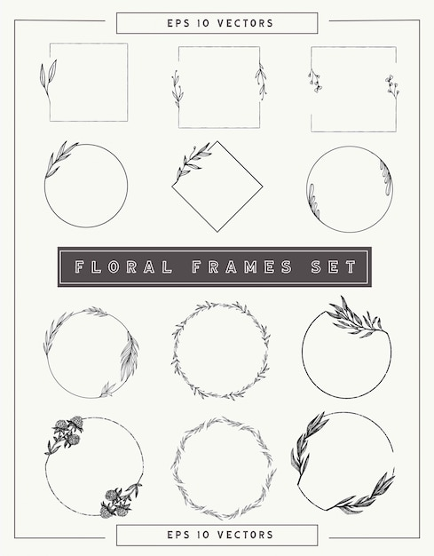 Floral frames and borders collection. Premium Vector