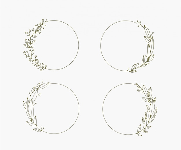 Floral frames and borders vector collection. Premium Vector