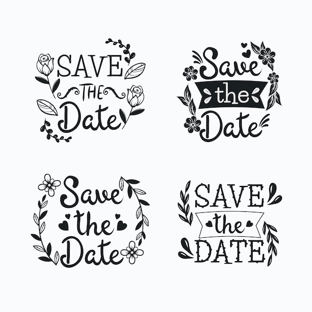 Floral frames of lettering with save the date wedding text Free Vector