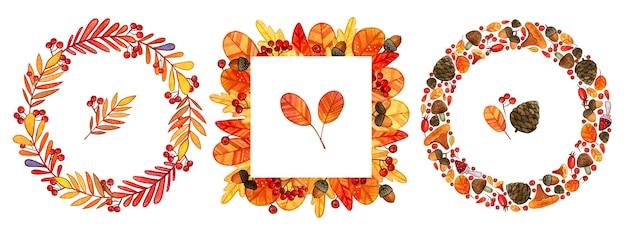 Цветочные рамки с акварельными осенними дубовыми листьями, желудями, ягодами и цветочными элементами в осенних тонах Premium векторы