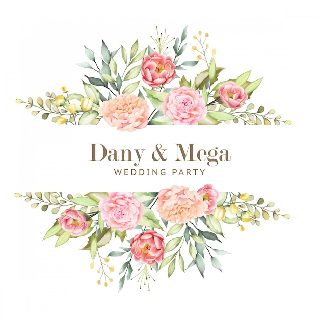 Floral frames with beautiful watercolor leaves Premium Vector
