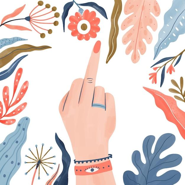 Цветочный ебать тебя женщина символ руки Бесплатные векторы