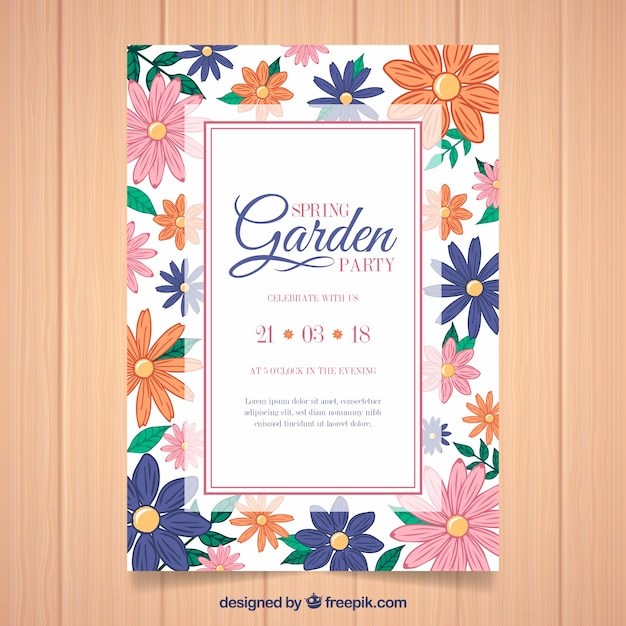 Floral garden party invitation template Vector | Free Download