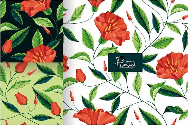 花の庭のシームレスなパターンコレクション Premiumベクター