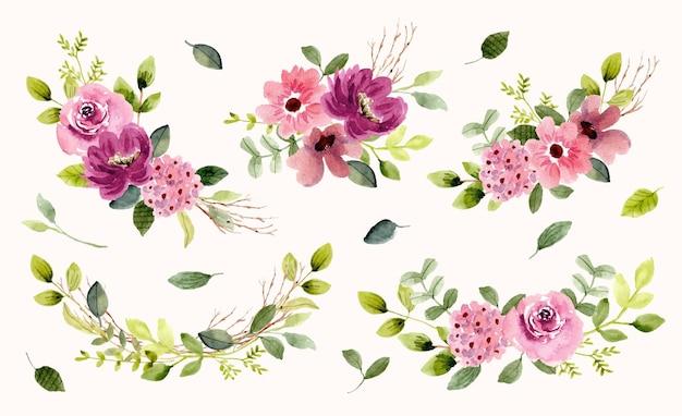 Коллекция цветочных садов акварель Premium векторы