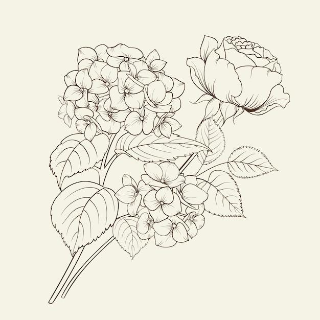 あじさいとバラの花輪。 無料ベクター