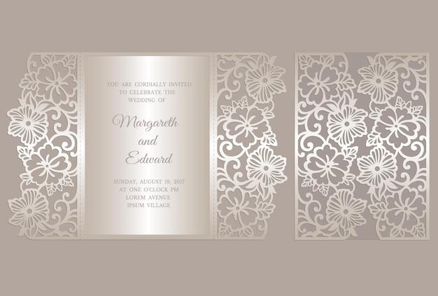 Premium Vector Floral Gate Fold Laser Cut Wedding Invitation Card Template Template For Cutting Design For Laser Cut Or Die Cut Template Ornamental Wedding Invite Mockup