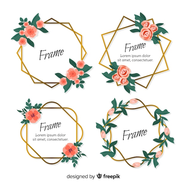 Floral geometric frame set Free Vector