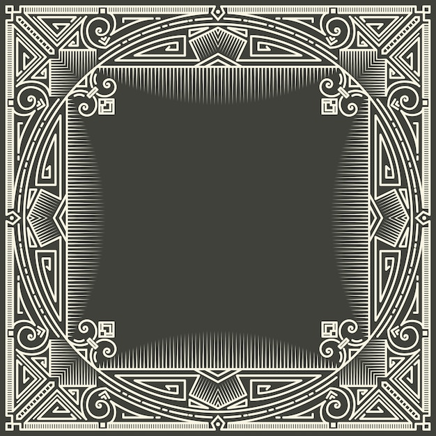 Floral and geometric monogram frame on dark gray background. monogram design element. Free Vector