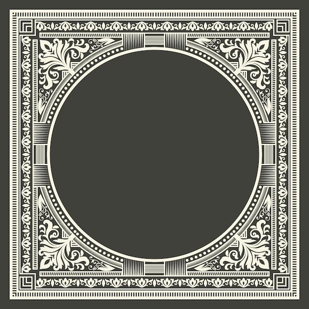 Floral and geometric monogram frame on dark gray background. monogram design element. Free Vector