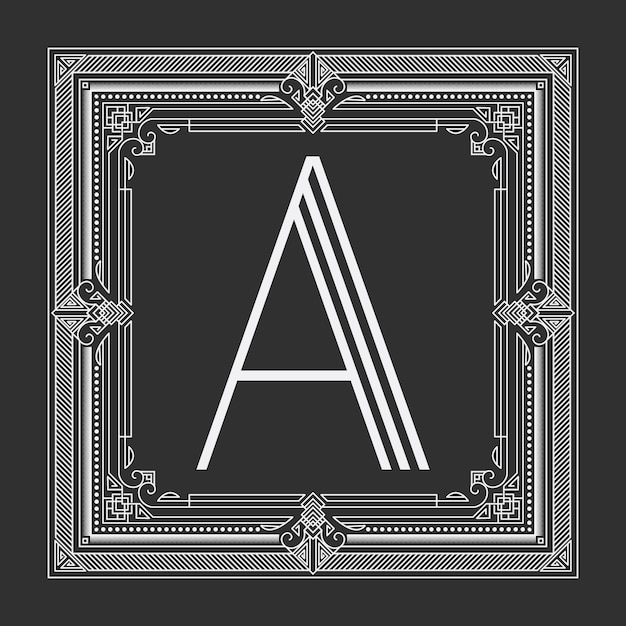 Floral and geometric monogram frame on dark gray background Free Vector