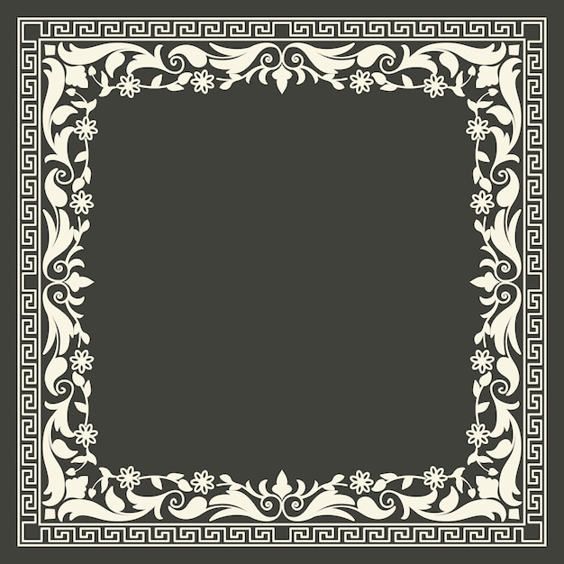 Floral and geometric monogram frame Free Vector