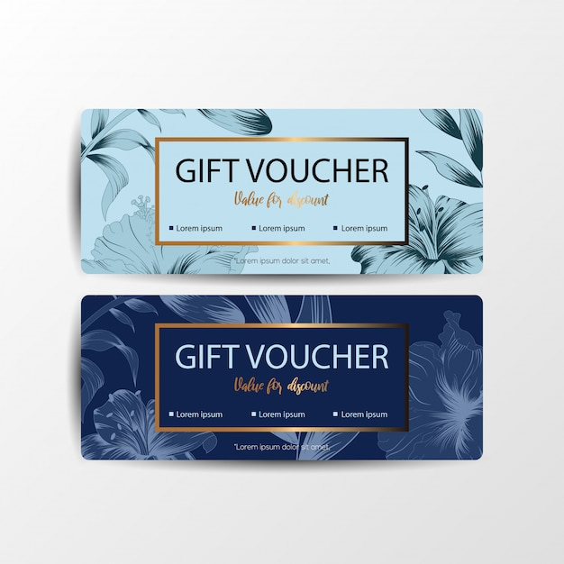 Floral gift voucher cards Premium Vector