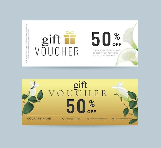 Floral gift voucher template Premium Vector