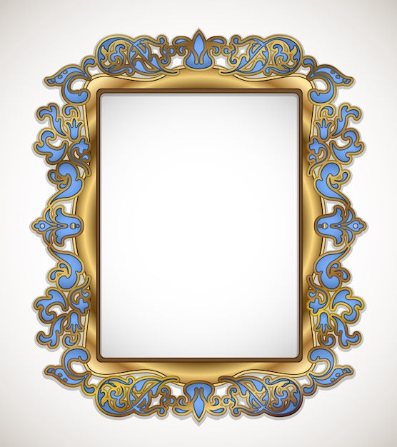 Floral gold and blue frame on white Free Vector