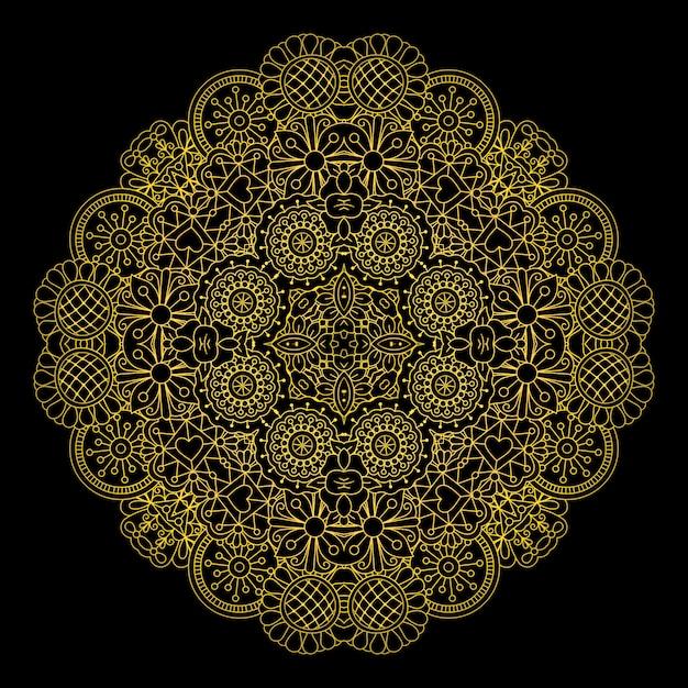 Floral gold linear round decorative element Premium Vector