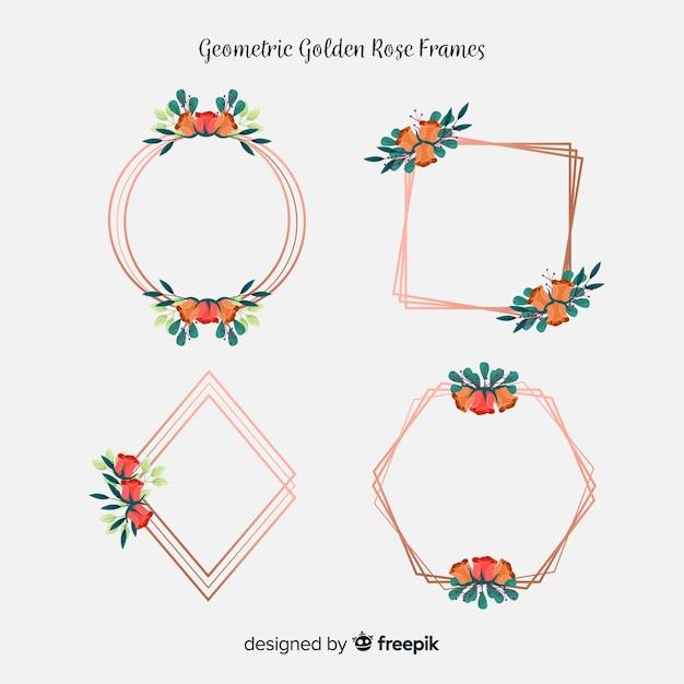 Floral golden rose frames Free Vector