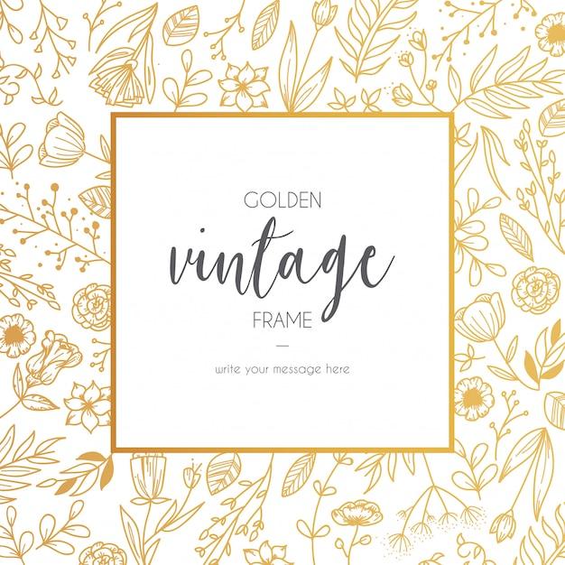 Floral golden vintage frame Free Vector