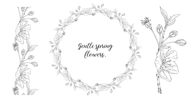 Floral graphic composition with spring flowers Premium Vector