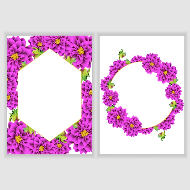 Floral greeting card decoration collection Premium Vector