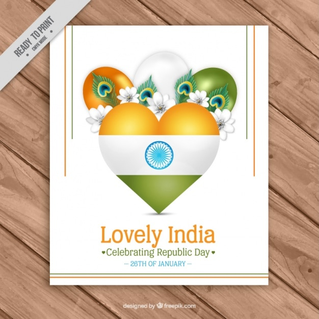 Floral greeting card with balloons for indian republic day