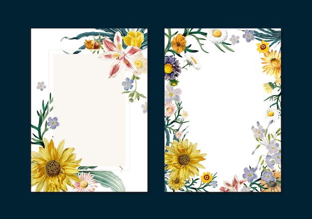 Floral greeting cards Free Vector