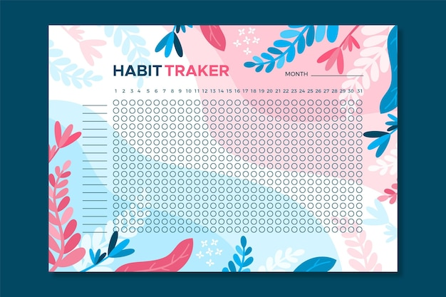 Modello di tracker abitudine floreale Vettore gratuito