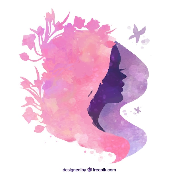 Floral Hairstyle Silhouette Free Vector