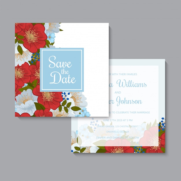 Floral hand draw wedding invitation template Free Vector