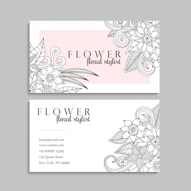 Floral hand drawn business card template Free Vector