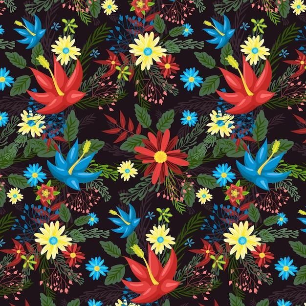 꽃 손으로 그린 패브릭 패턴 프리미엄 벡터