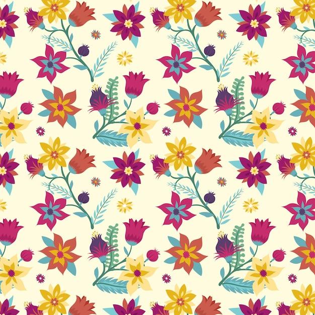 꽃 손으로 그린 패브릭 패턴 무료 벡터