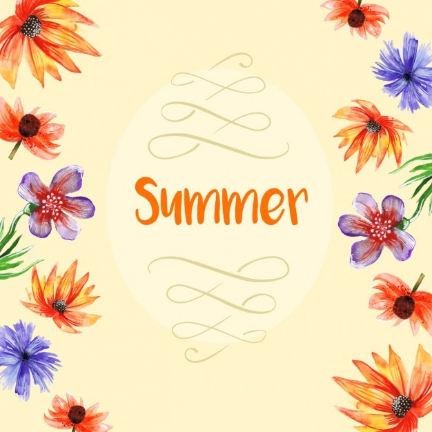 Floral hand painted summer background