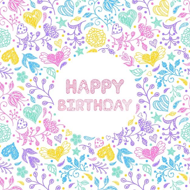 Floral happy birthday card Premium Vector