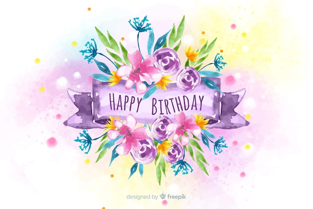 Floral happy birthday watercolor background Free Vector