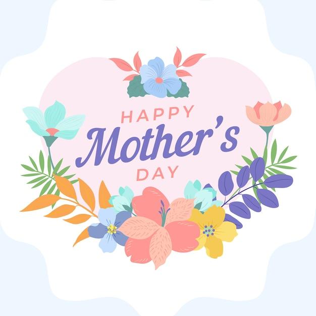 花の幸せな母の日と花の花輪 無料ベクター